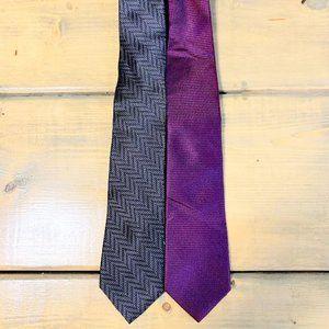 NWT Mens Name Branded Dress Tie Bundle Of 2-OS